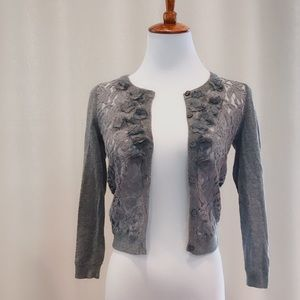 NWT Abercrombie and Fitch grey lace front cardigan
